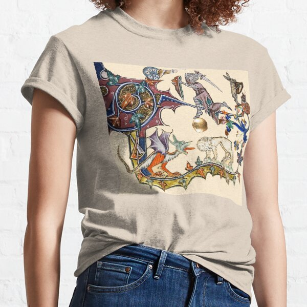 MEDIEVAL KNIGHT FIGHTING SNAIL,DRAGON AND LION Classic T-Shirt