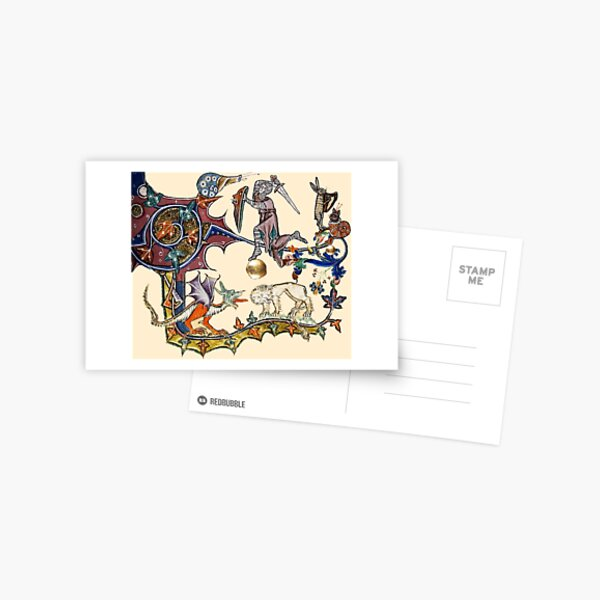 MEDIEVAL KNIGHT FIGHTING SNAIL,DRAGON AND LION Postcard