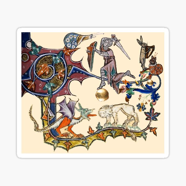 MEDIEVAL KNIGHT FIGHTING SNAIL,DRAGON AND LION Sticker