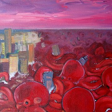 """"""" Red Ocean Octopus - Contemporary wave made of octopus"""" by nique"""