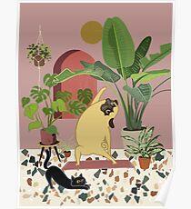 Pug Yoga with Plants Poster