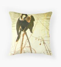 Anhinga on Stilts Throw Pillow