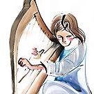 Harpist Harp Musician Original Drawing by CatarinaGarcia