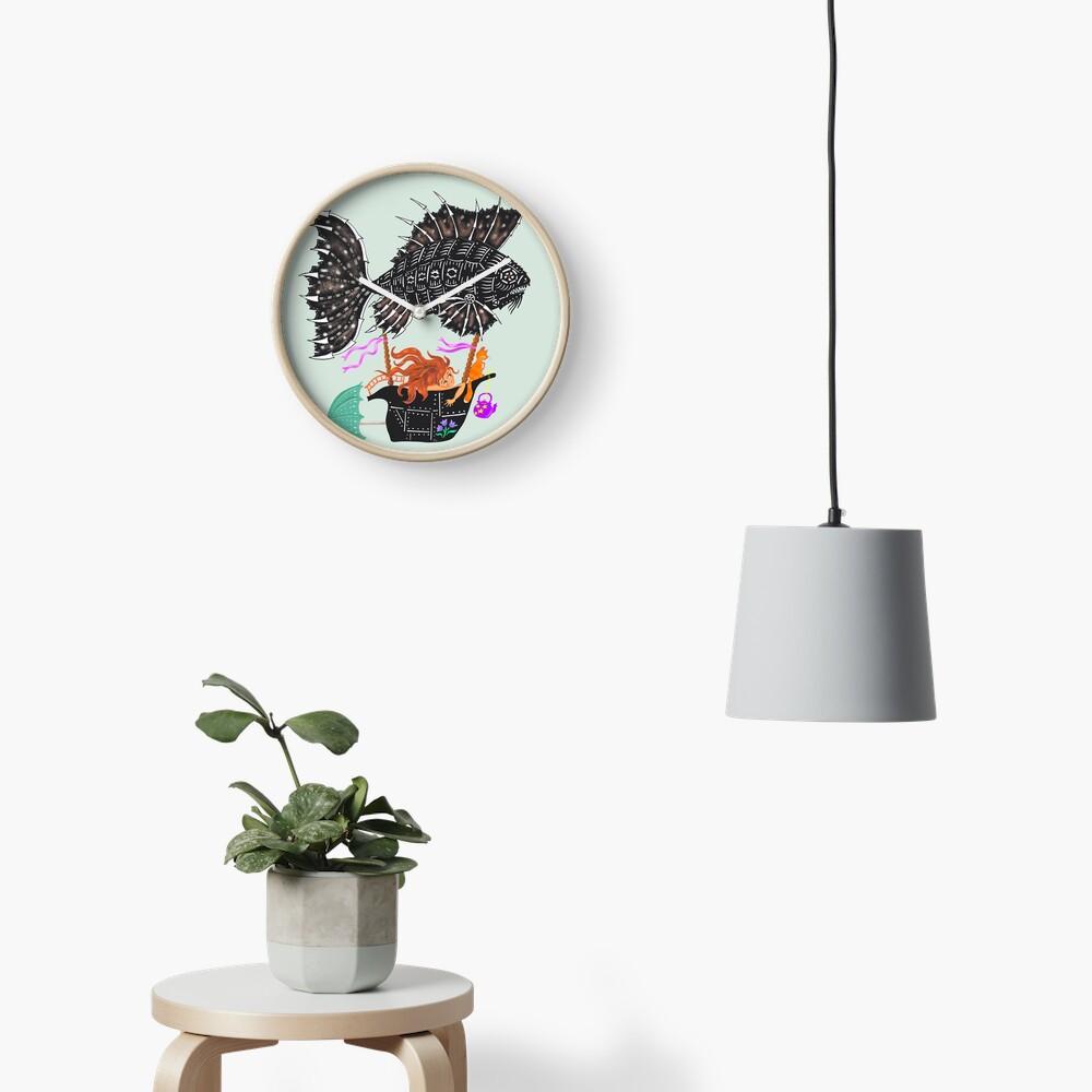 Steampunk mechanical fish Clock