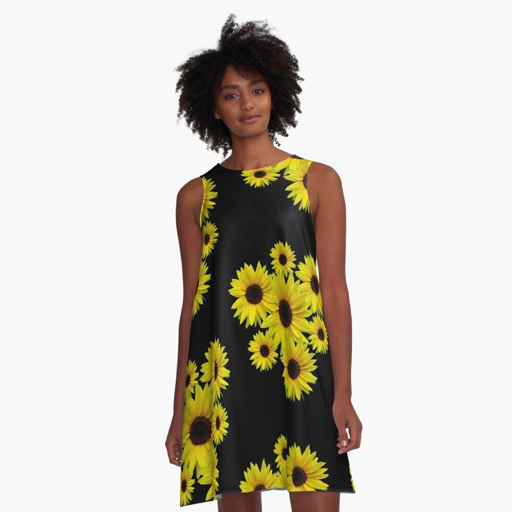 Sonnenblumenstrauß, Sonnenblumen, Blumen, Blüten A-Linien Kleid