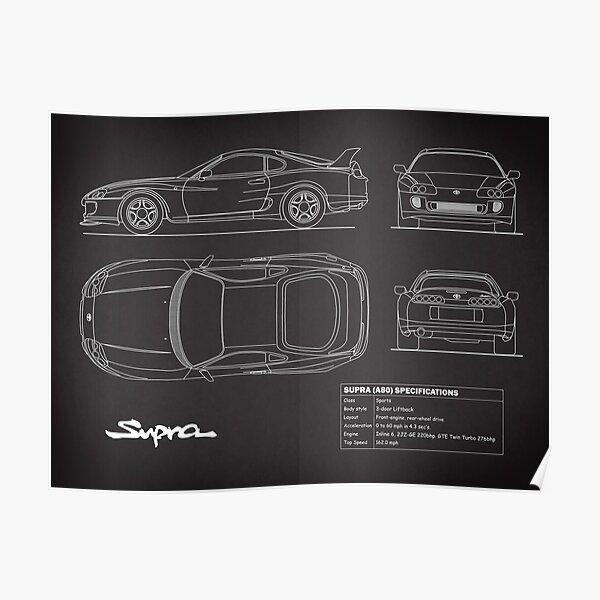 The Supra Blueprint in Black Poster