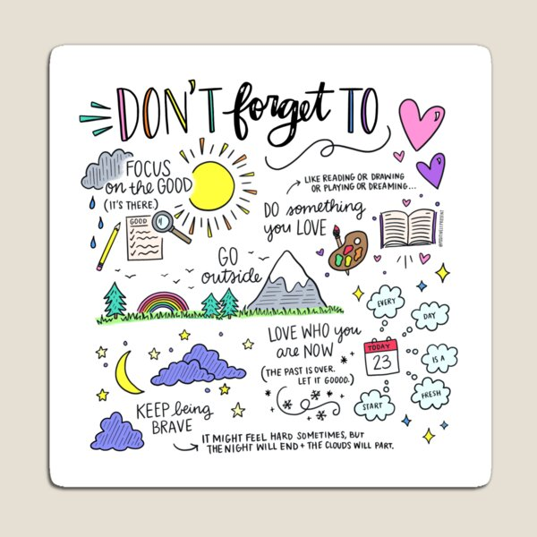 Self Care Ideas - Positively Present Magnet