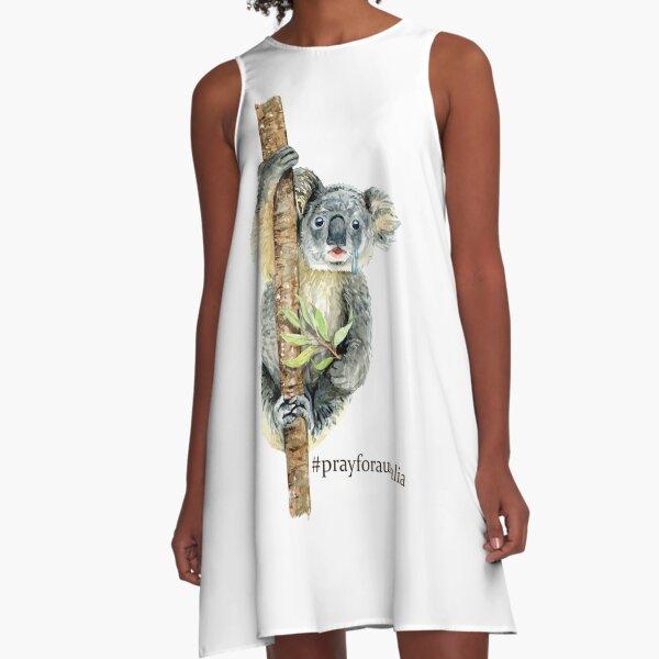Pray for Australia Koala  A-Line Dress