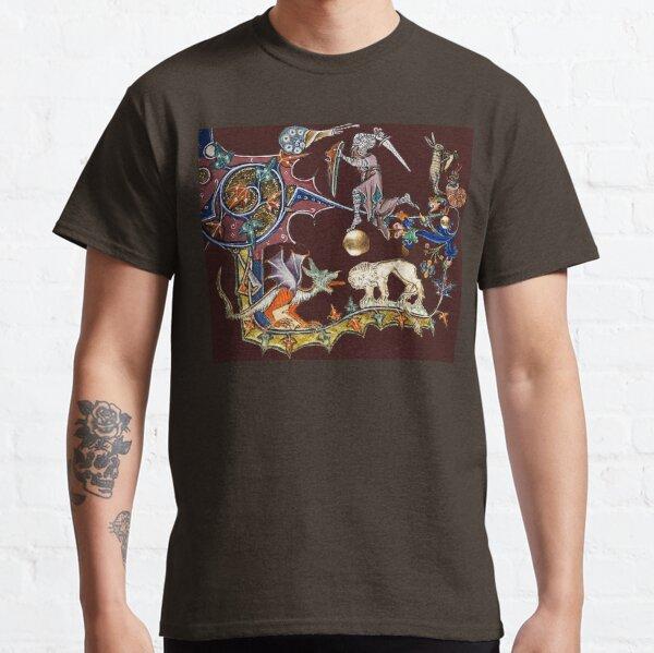 CHEVALIER MÉDIÉVAL LUTTE CONTRE L'ESCARGOT, LE DRAGON ET LE LION EN MARRON ROUGE T-shirt classique