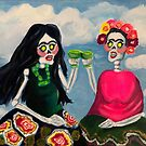 Day of the Dead Skeletons Toasting Margaritas by Candace Byington