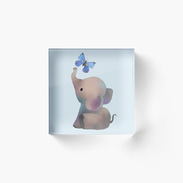 Elephant with a butterfly Acrylic Block