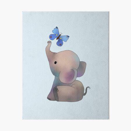 Éléphant avec un papillon Impression rigide
