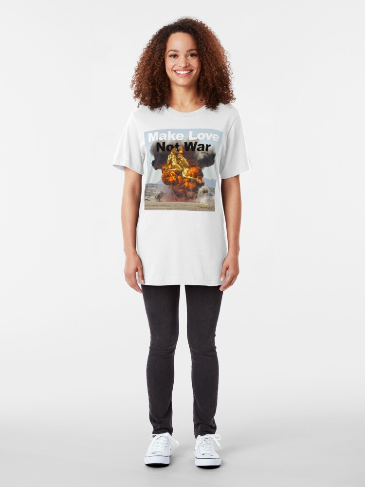 Alternate view of Make Love, Not War Slim Fit T-Shirt