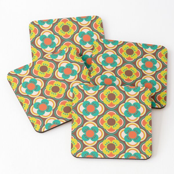 70s Flowers Coasters (Set of 4)