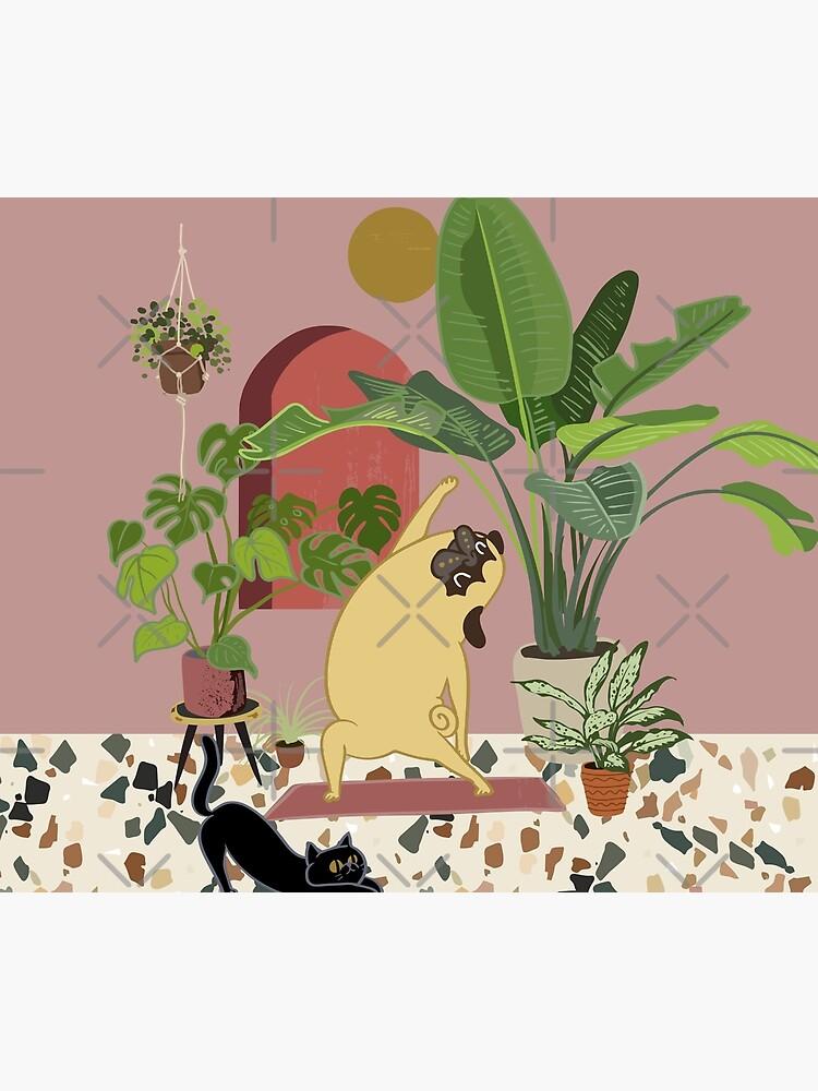 Pug Yoga with Plants by Huebucket