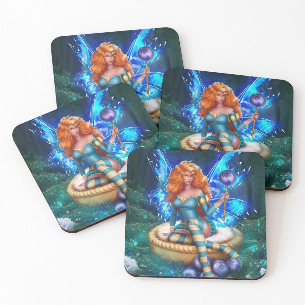 Blueberry Cake Fairy Coasters (Set of 4)