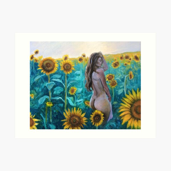 In the Sunflowers by Hilary J. England Art Print