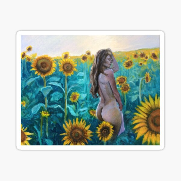 In the Sunflowers by Hilary J. England Sticker