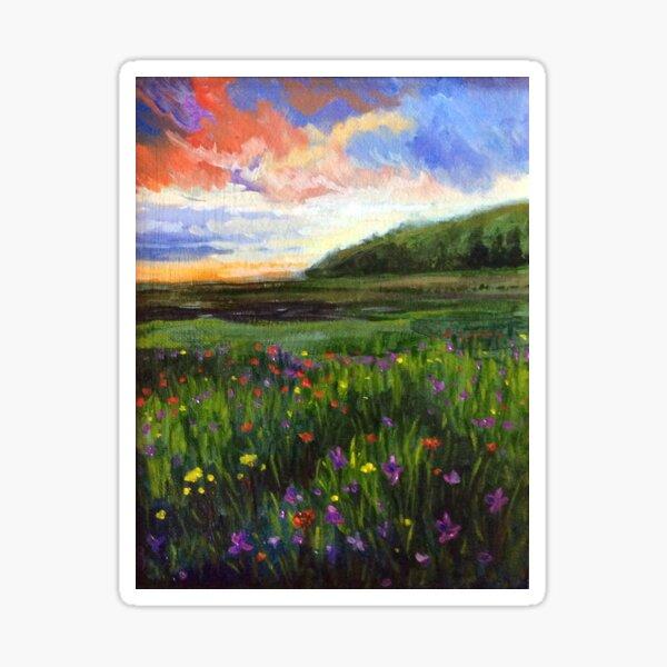 Wildflowers at dusk by American Artist Hilary J. England Sticker