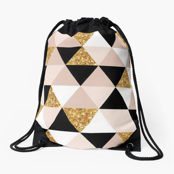 Scandinavian Gold Triangle Pattern Drawstring Bag