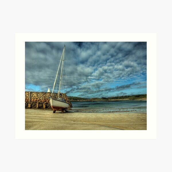 A Yacht on Braye Beach Art Print
