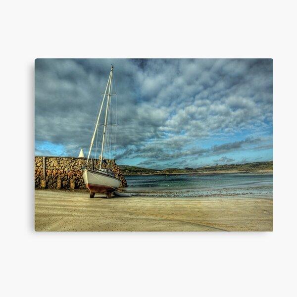 A Yacht on Braye Beach Metal Print