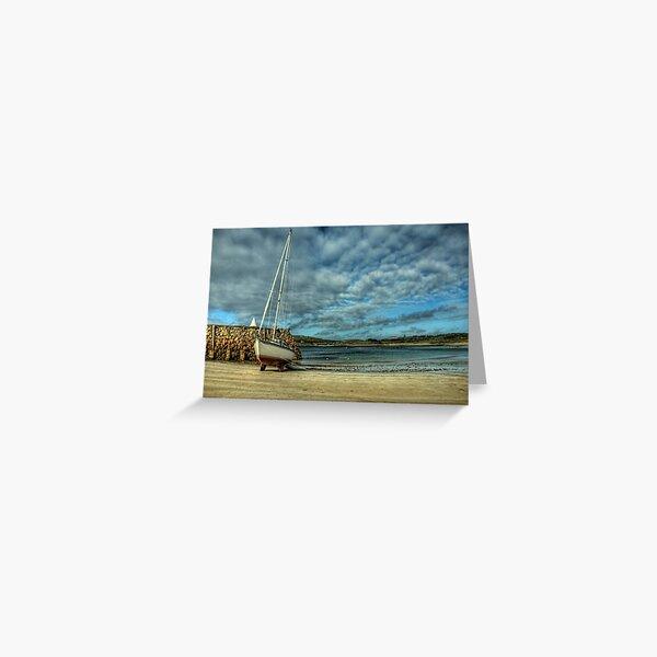 A Yacht on Braye Beach Greeting Card