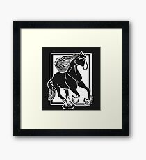 Black and White Shire Horse Art Framed Print