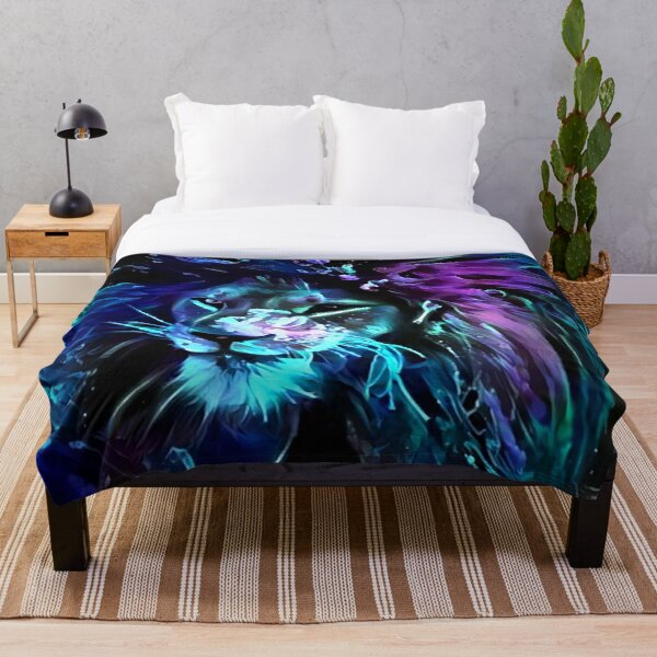 Night of the Neon Lion Throw Blanket