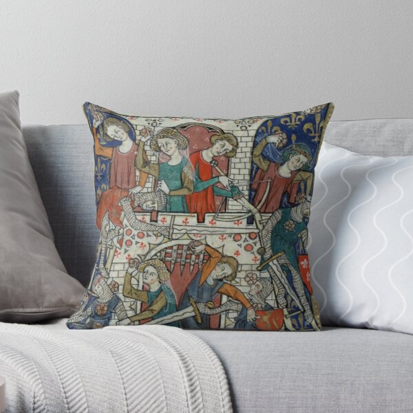 Medieval Women Defending Castle with Flowers - Illuminated Manuscript Throw Pillow