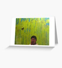 Boy & horse childhood series-original oil painting fine art by Nataly Greeting Card