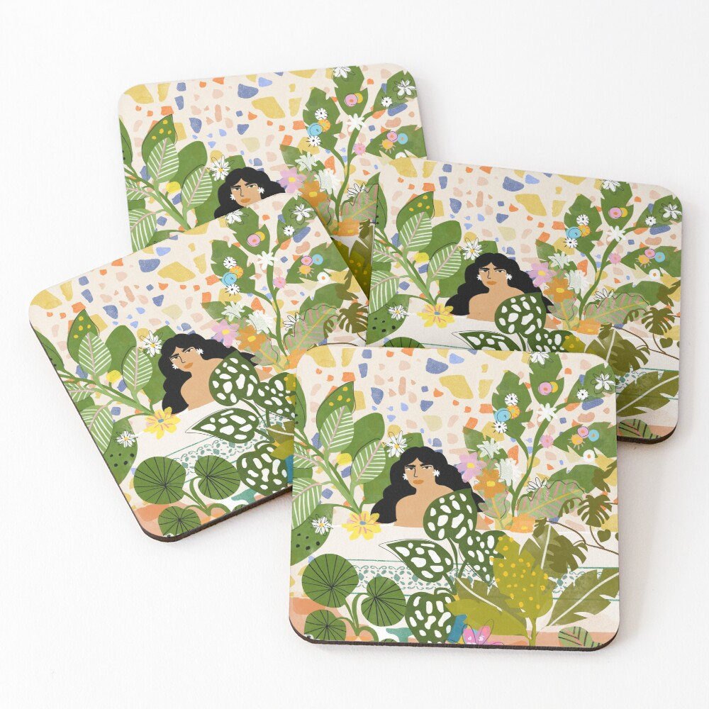 Bathing with Plants Coasters (Set of 4)