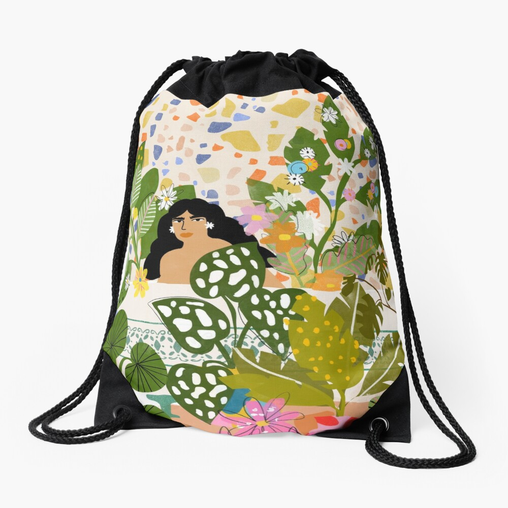 Bathing with Plants Drawstring Bag