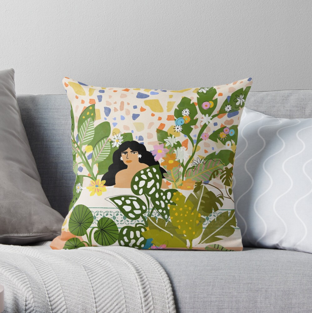 Bathing with Plants Throw Pillow