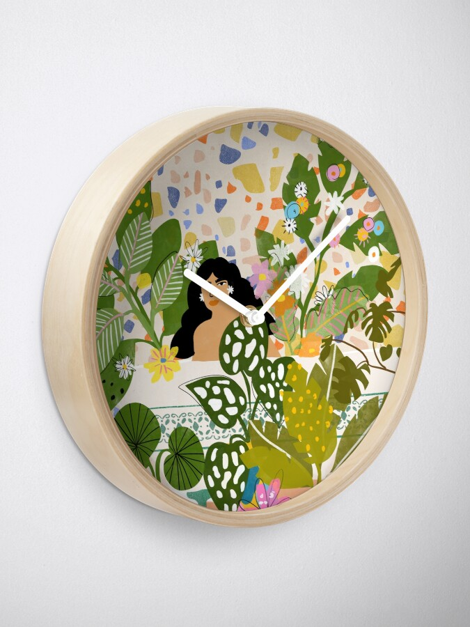 Alternate view of Bathing with Plants Clock