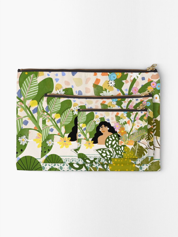 Alternate view of Bathing with Plants Zipper Pouch