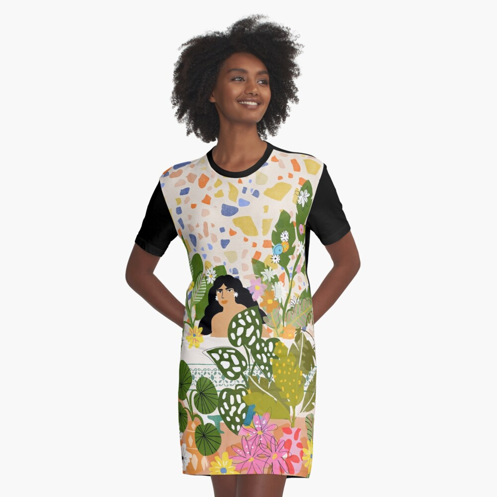 Bathing with Plants Graphic T-Shirt Dress