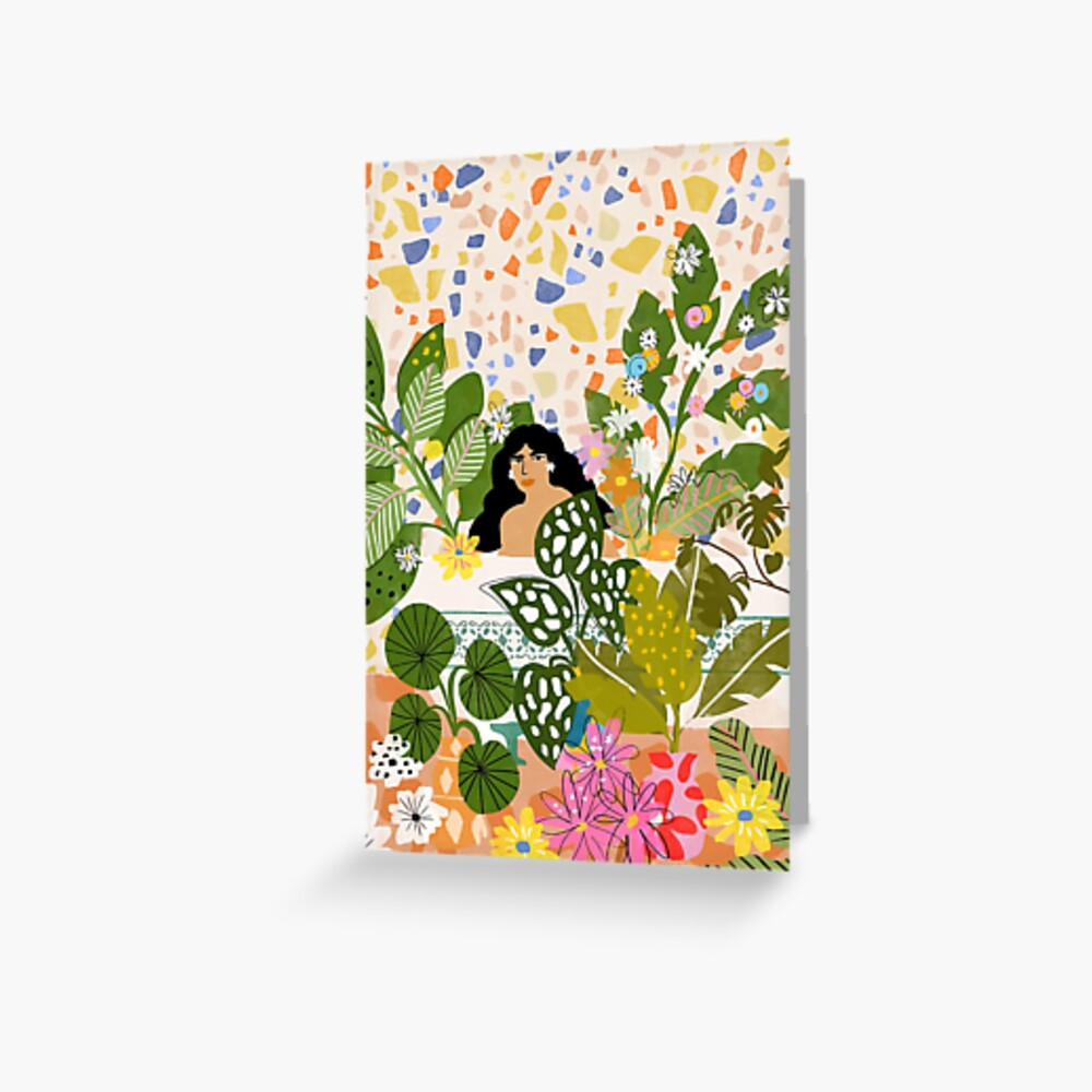 Bathing with Plants Greeting Card