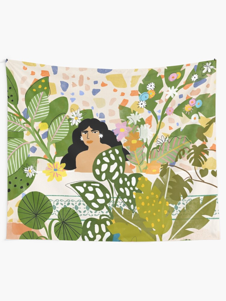 Alternate view of Bathing with Plants Tapestry