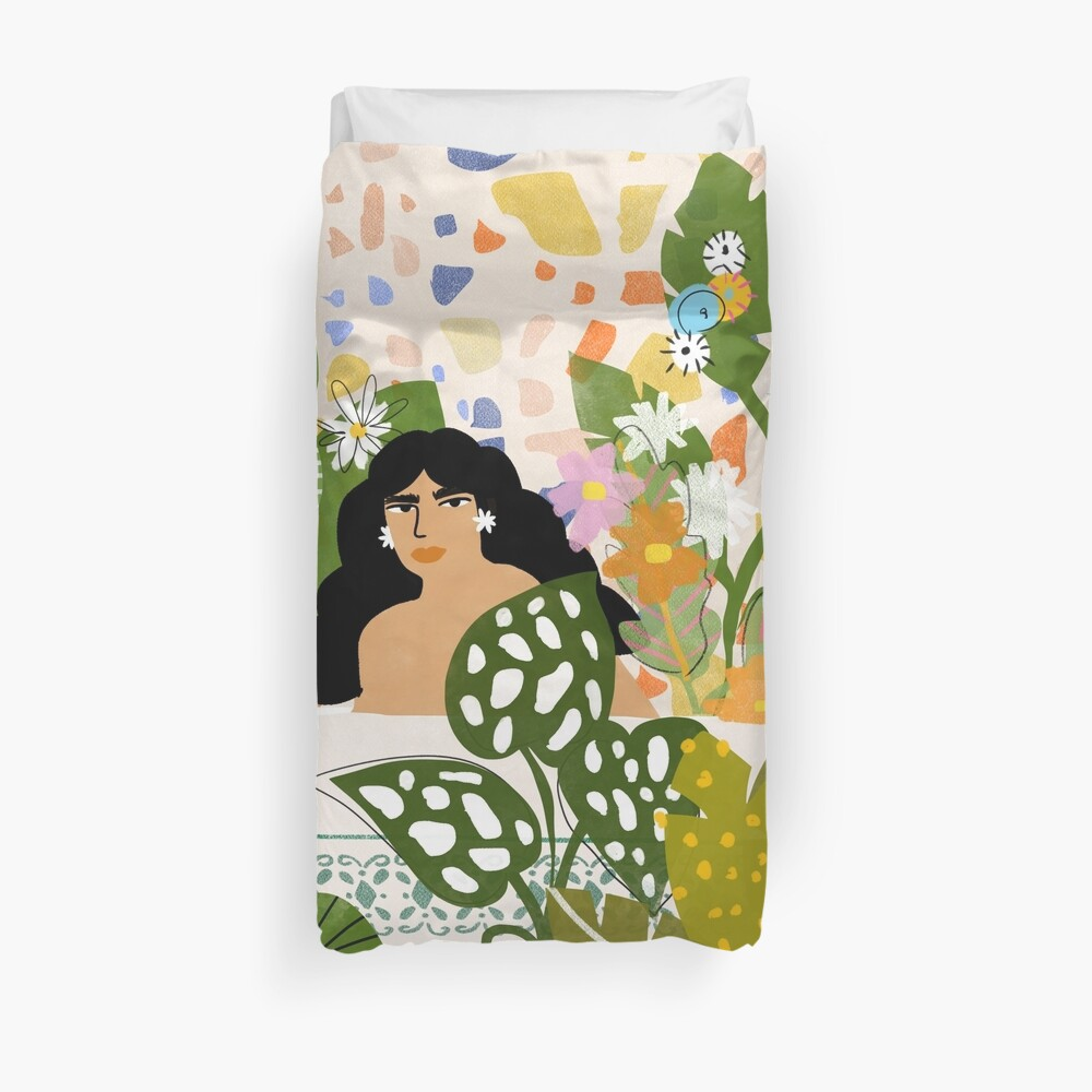 Bathing with Plants Duvet Cover