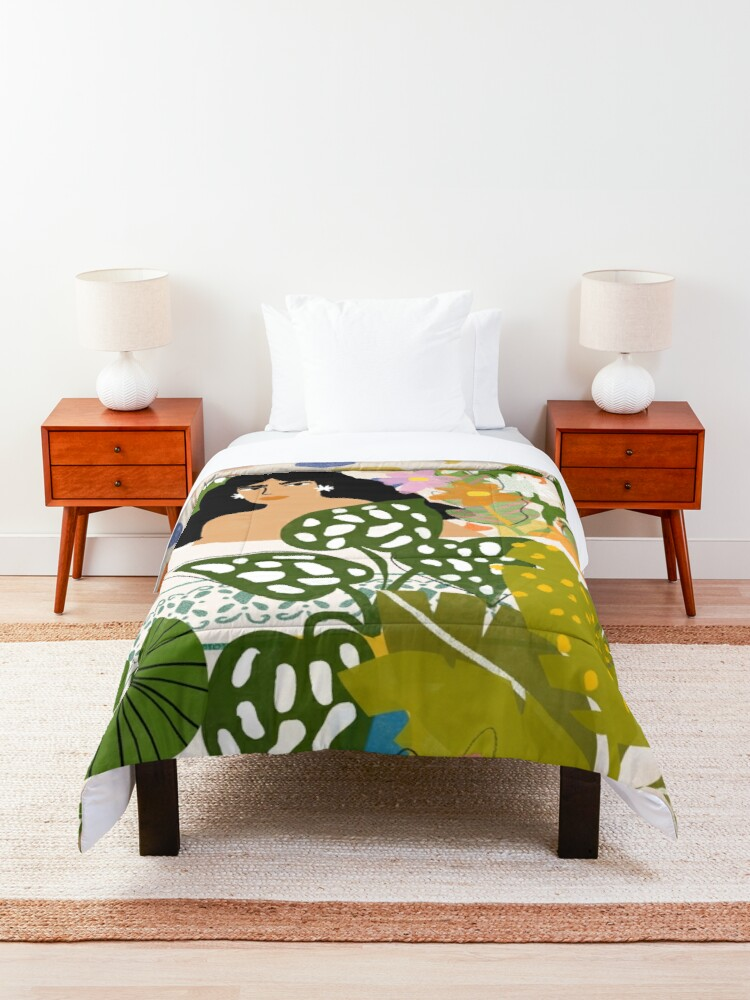 Alternate view of Bathing with Plants Comforter