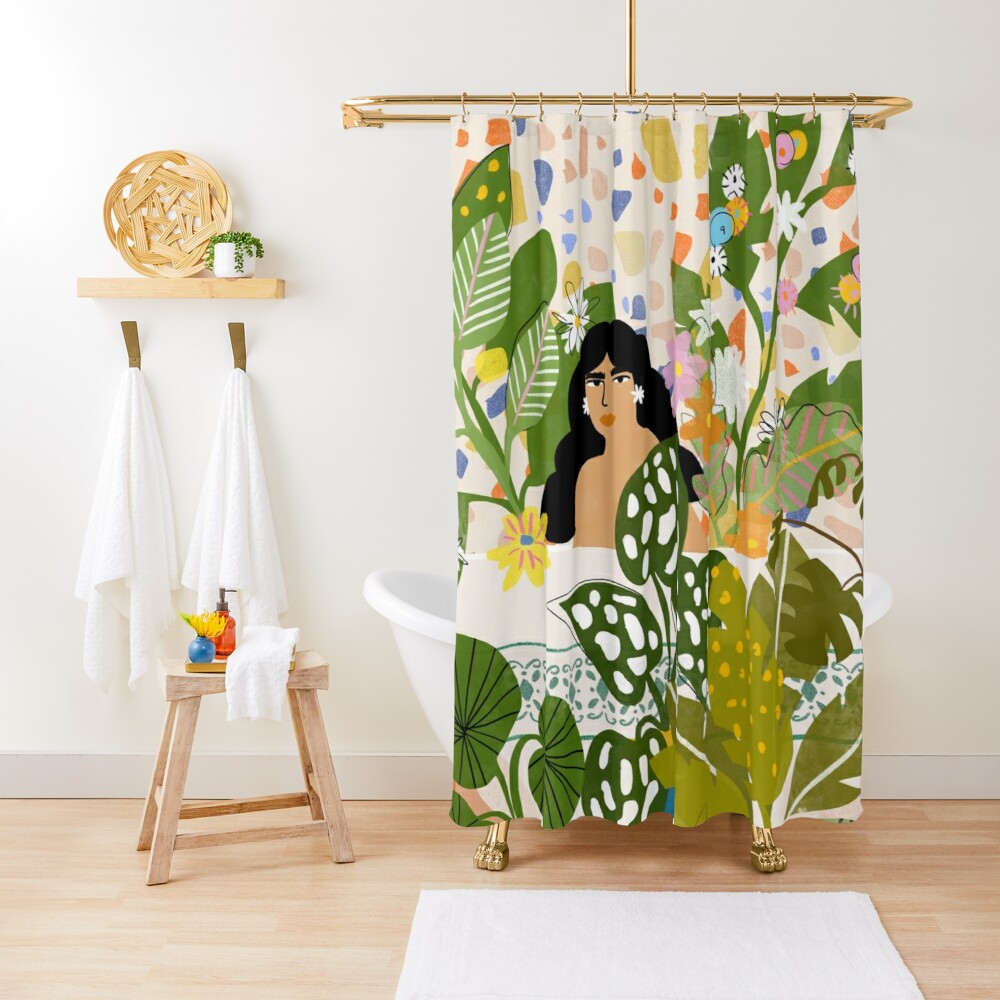 Bathing with Plants Shower Curtain