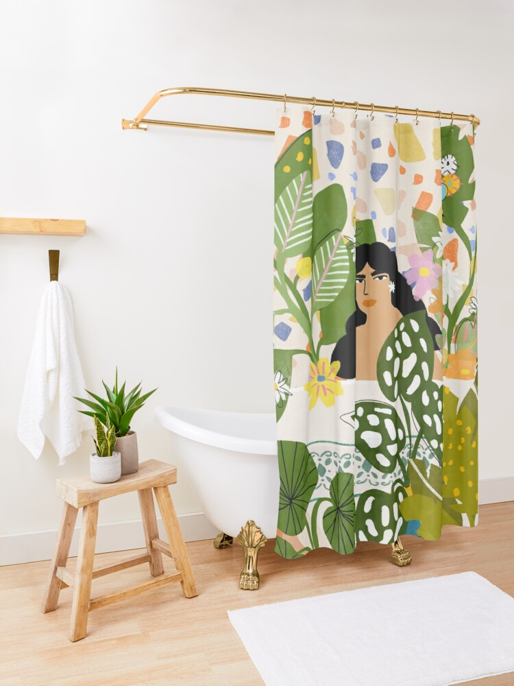 Alternate view of Bathing with Plants Shower Curtain