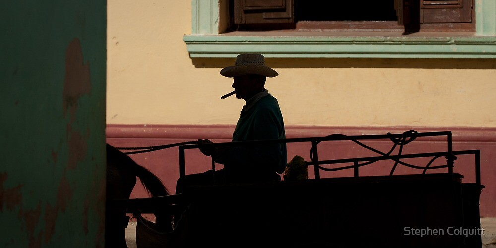 Horse and cart driver in silhouete by Stephen Colquitt