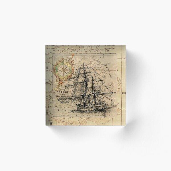 vintage pirate ship sailor antique world map  Acrylic Block
