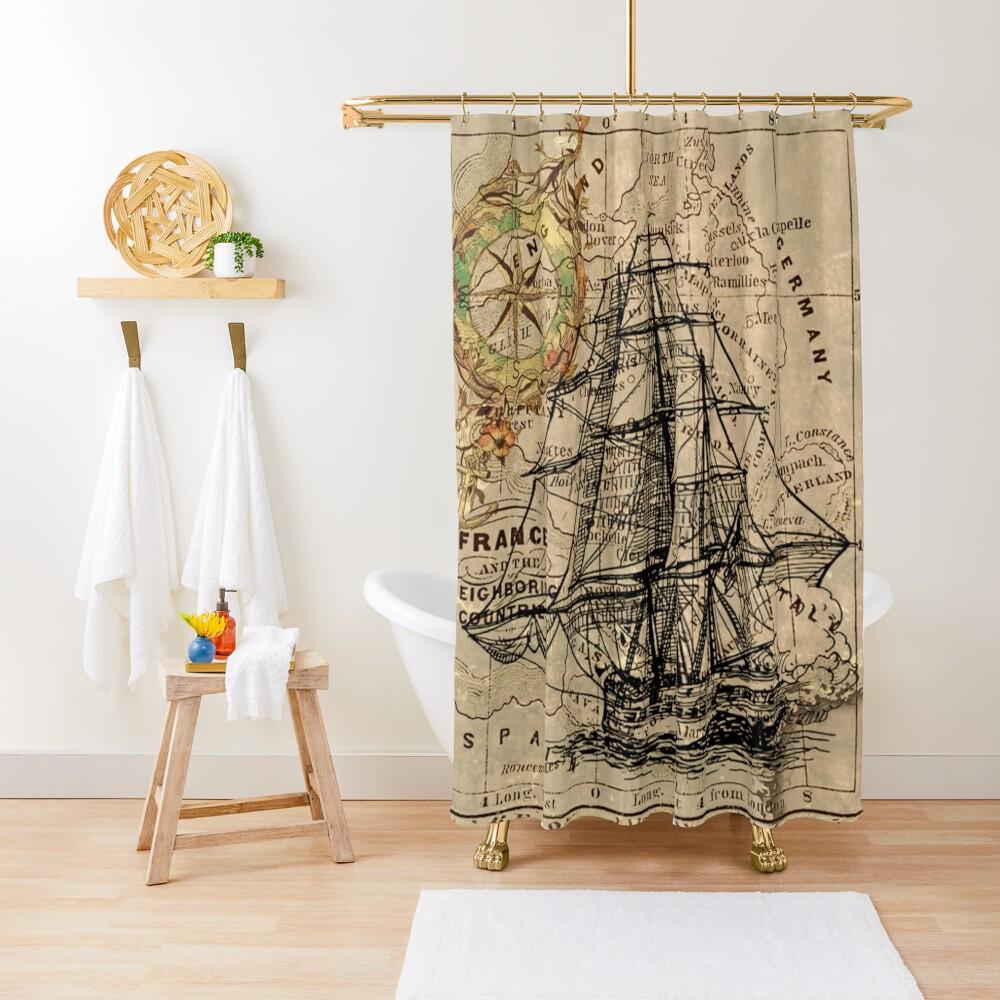 vintage pirate ship sailor antique world map  Shower Curtain