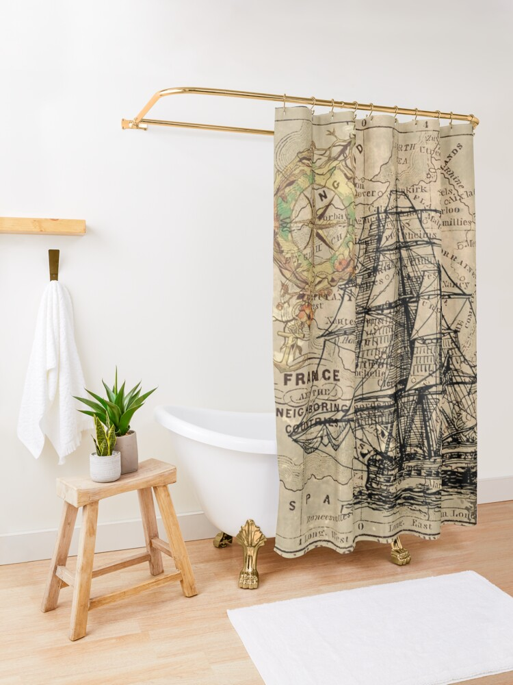 Alternate view of vintage pirate ship sailor antique world map  Shower Curtain