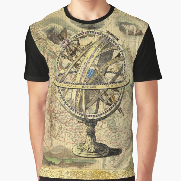 steampunk geography globe antique vintage world map  Graphic T-Shirt