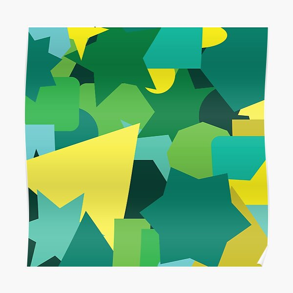 Green and Yellow shapes abstract pattern artistic colorful Poster