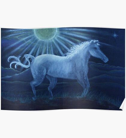Harvest Moon White Horse Poster